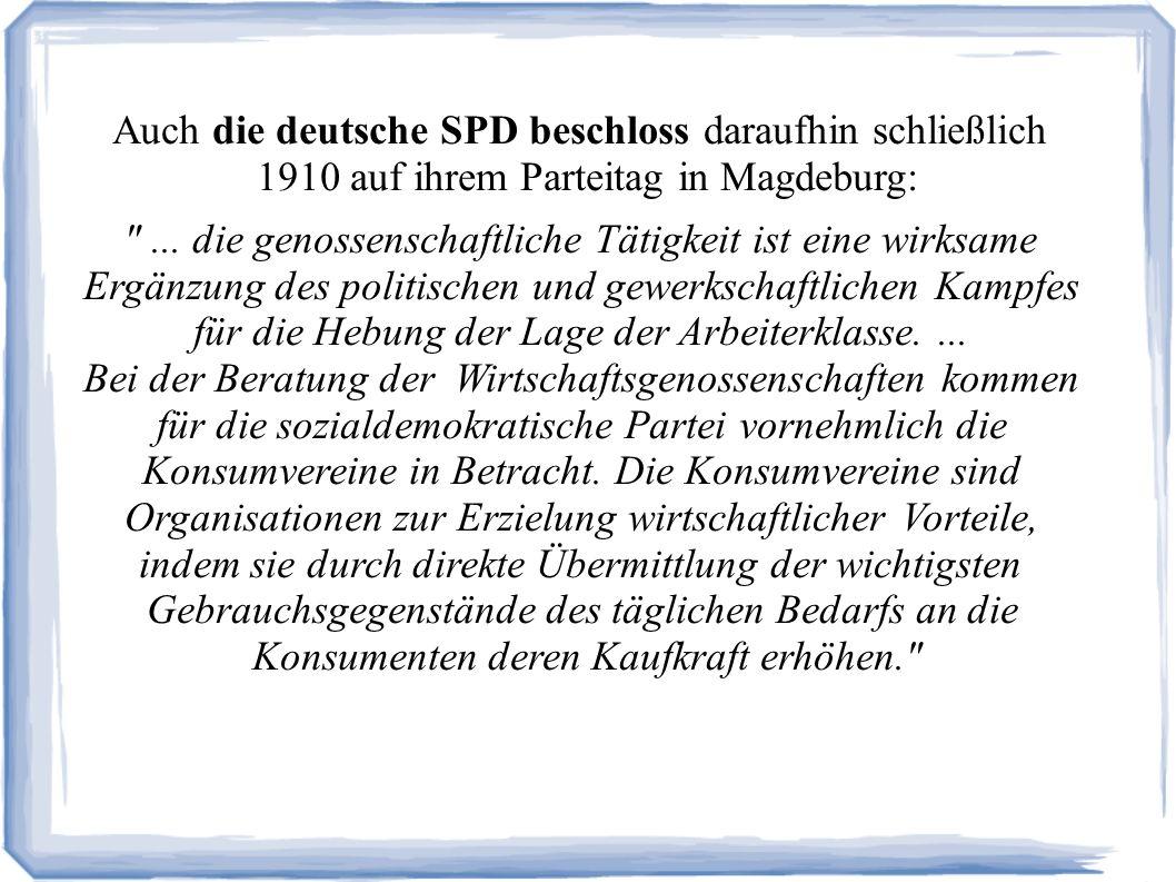 Auch die deutsche SPD beschloss daraufhin schließlich