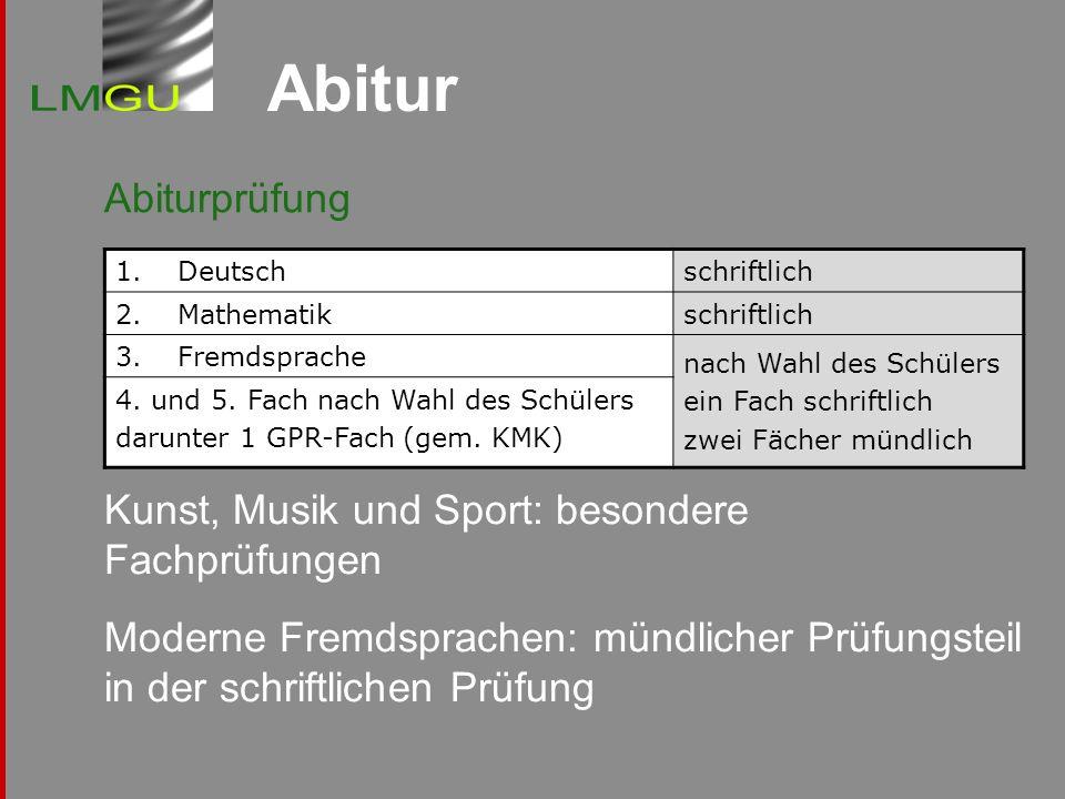 Abitur Abiturprüfung Kunst, Musik und Sport: besondere Fachprüfungen