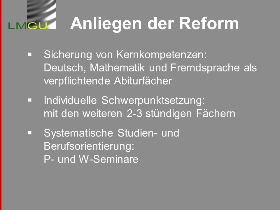 Anliegen der Reform Sicherung von Kernkompetenzen: Deutsch, Mathematik und Fremdsprache als verpflichtende Abiturfächer.