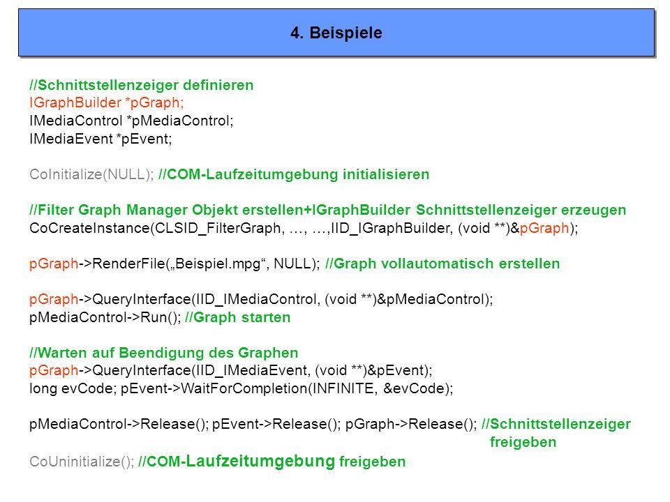 4. Beispiele //Schnittstellenzeiger definieren IGraphBuilder *pGraph;