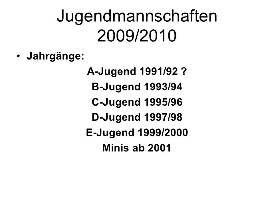 Jugendmannschaften 2009/2010 Jahrgänge: A-Jugend 1991/92