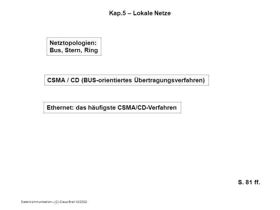 Kap.5 – Lokale Netze Netztopologien: Bus, Stern, Ring. CSMA / CD (BUS-orientiertes Übertragungsverfahren)