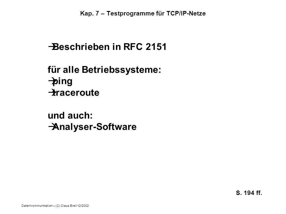 Kap. 7 – Testprogramme für TCP/IP-Netze