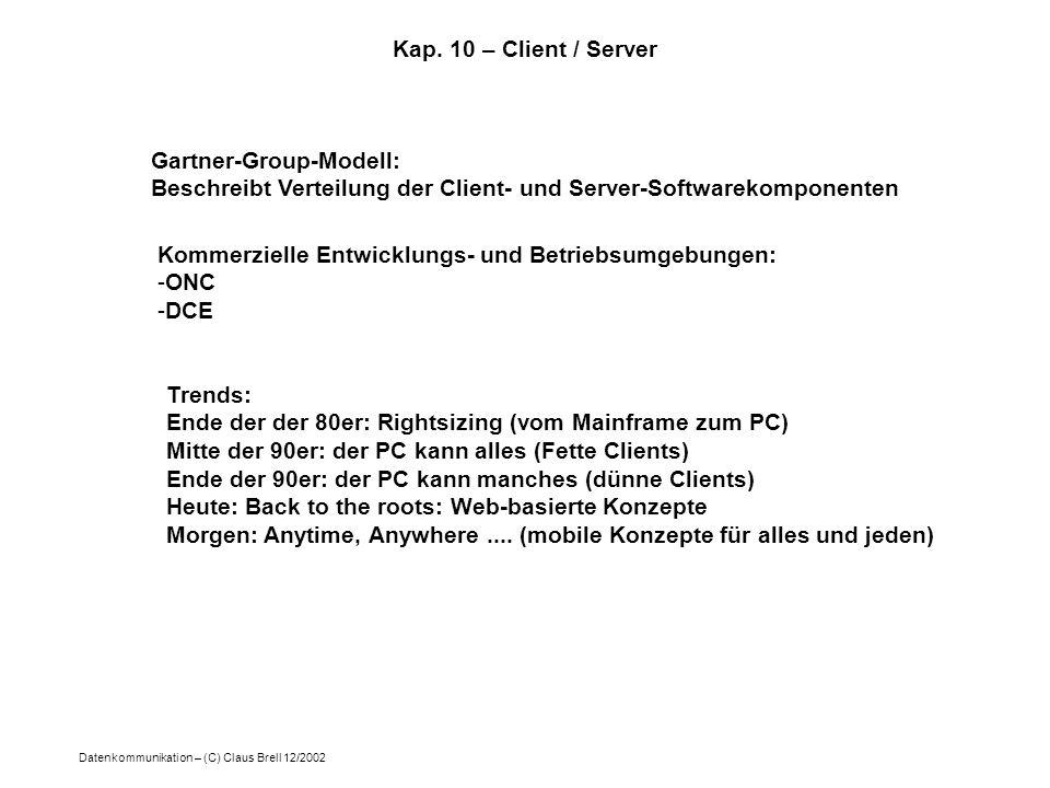 Kap. 10 – Client / Server Gartner-Group-Modell: Beschreibt Verteilung der Client- und Server-Softwarekomponenten.