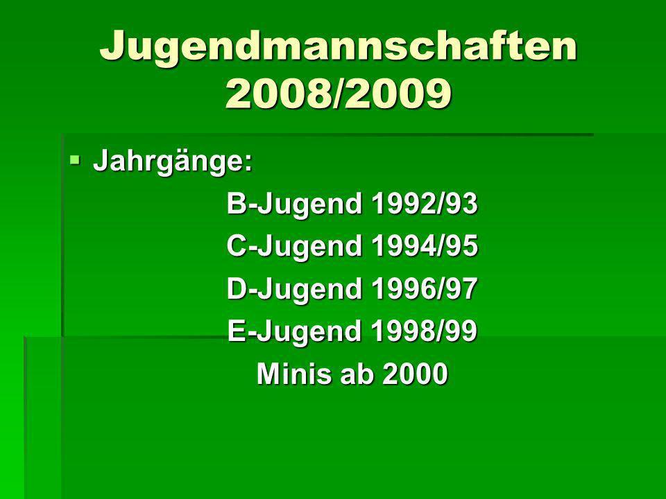 Jugendmannschaften 2008/2009 Jahrgänge: B-Jugend 1992/93