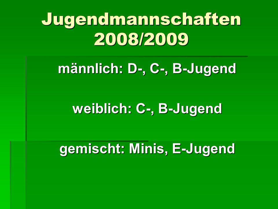 männlich: D-, C-, B-Jugend gemischt: Minis, E-Jugend
