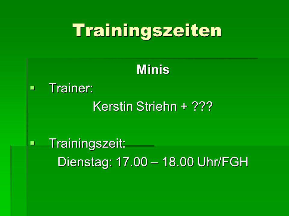 Trainingszeiten Minis Trainer: Kerstin Striehn + Trainingszeit: