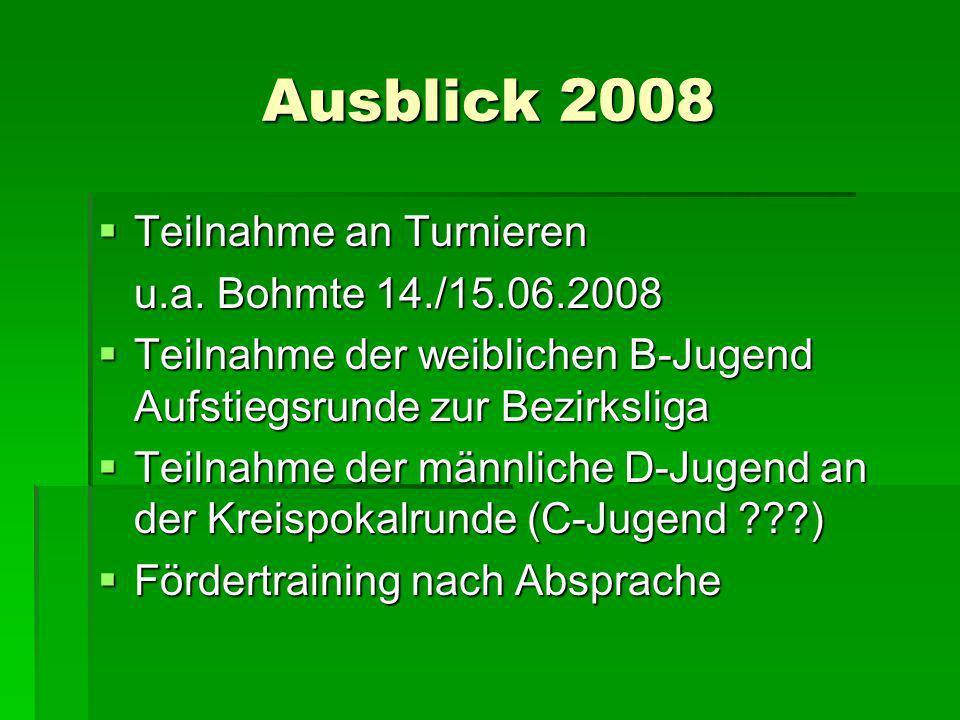 Ausblick 2008 Teilnahme an Turnieren u.a. Bohmte 14./15.06.2008