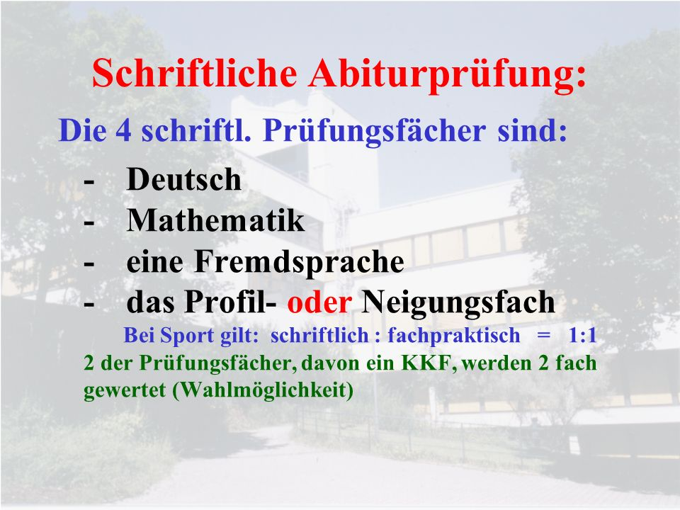 Schriftliche Abiturprüfung: