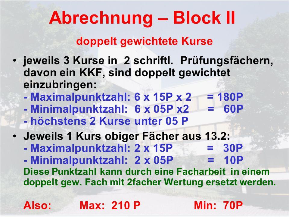 Abrechnung – Block II doppelt gewichtete Kurse