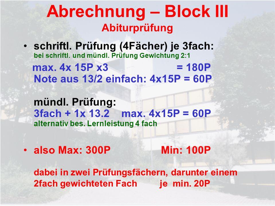 Abrechnung – Block III Abiturprüfung