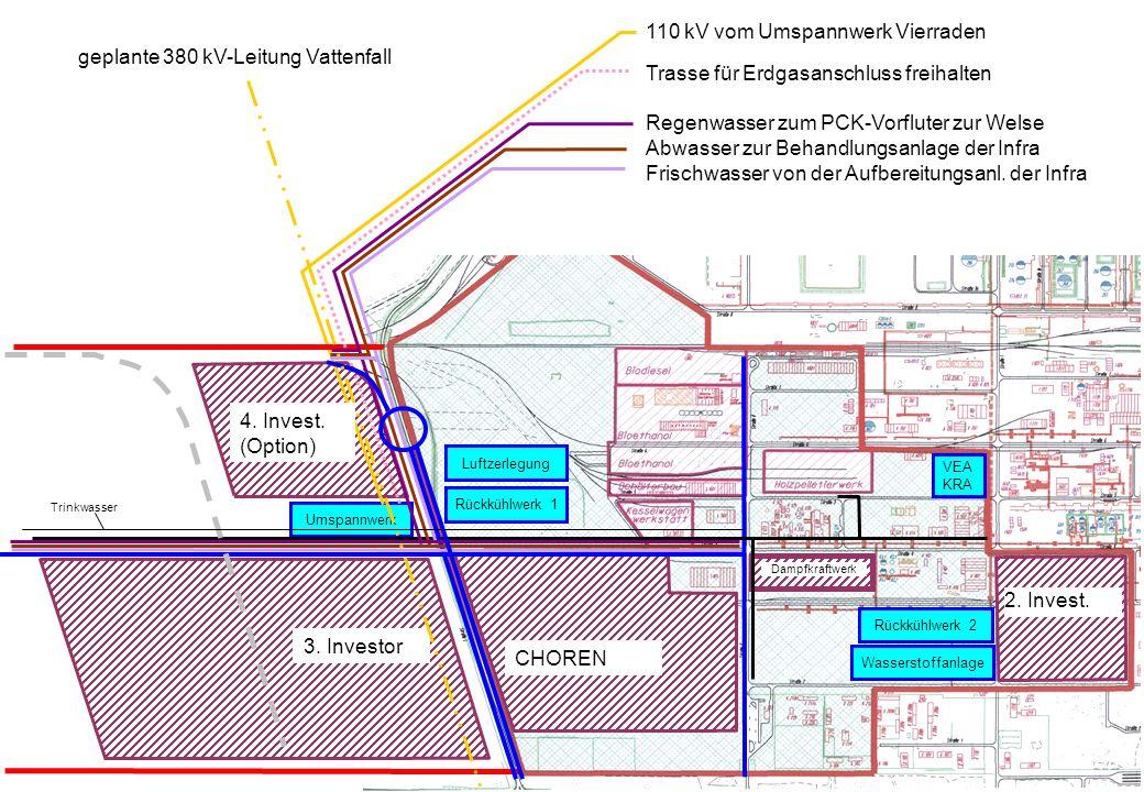 110 kV vom Umspannwerk Vierraden geplante 380 kV-Leitung Vattenfall
