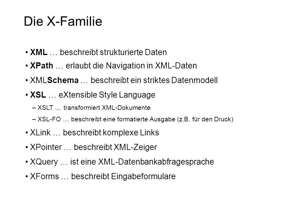 Die X-Familie XML … beschreibt strukturierte Daten