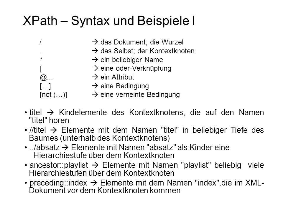 XPath – Syntax und Beispiele I
