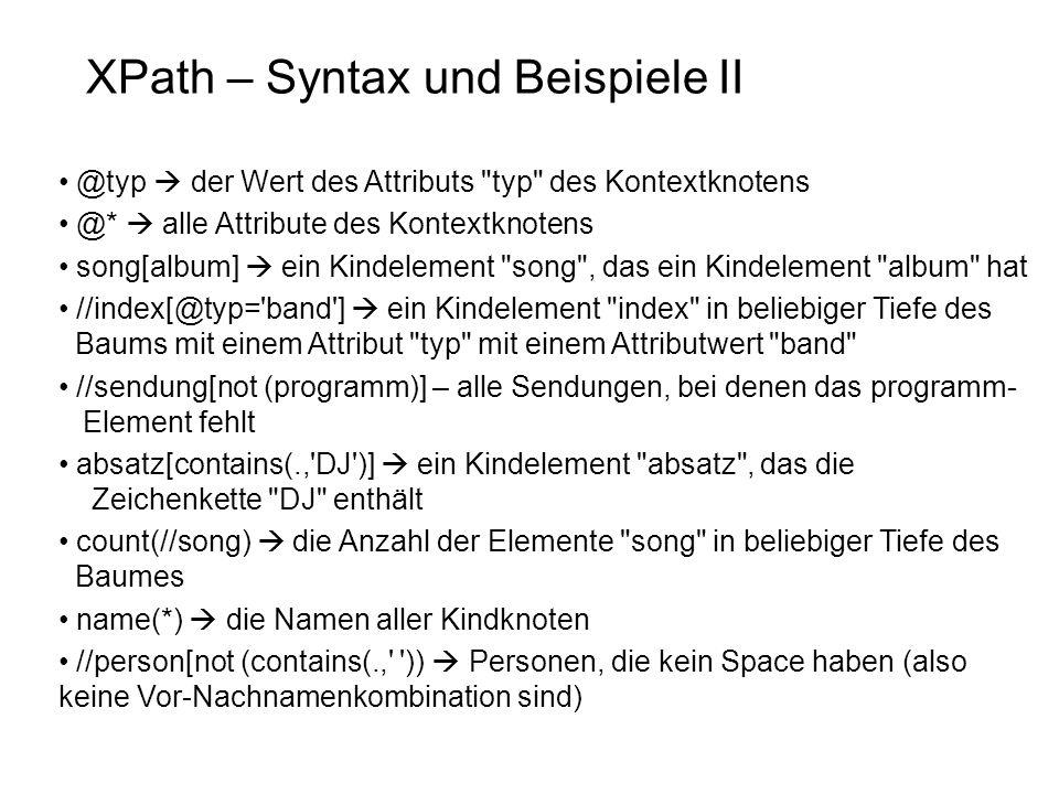 XPath – Syntax und Beispiele II
