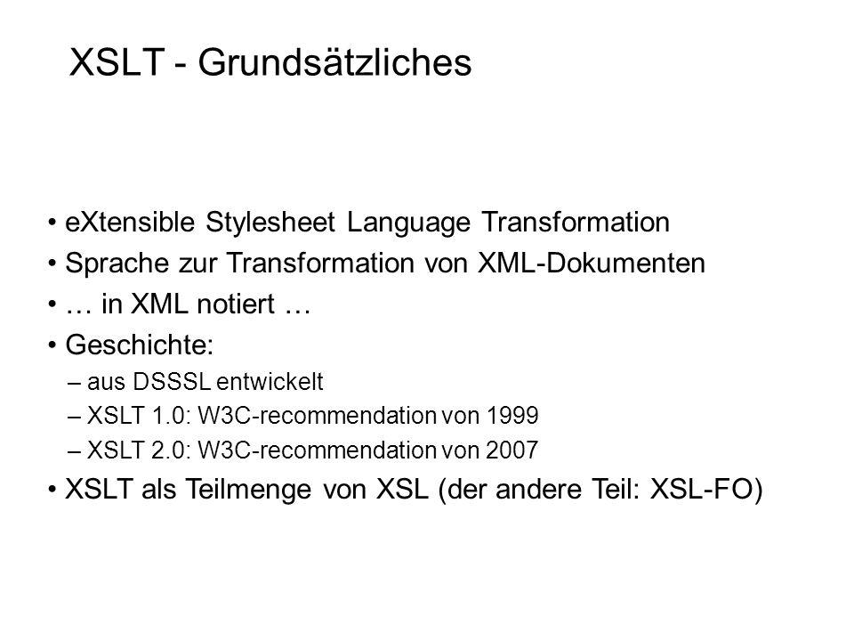 XSLT - Grundsätzliches