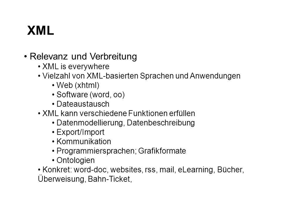 XML Relevanz und Verbreitung XML is everywhere