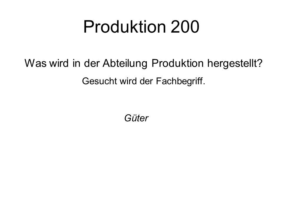 Produktion 200 Was wird in der Abteilung Produktion hergestellt Güter