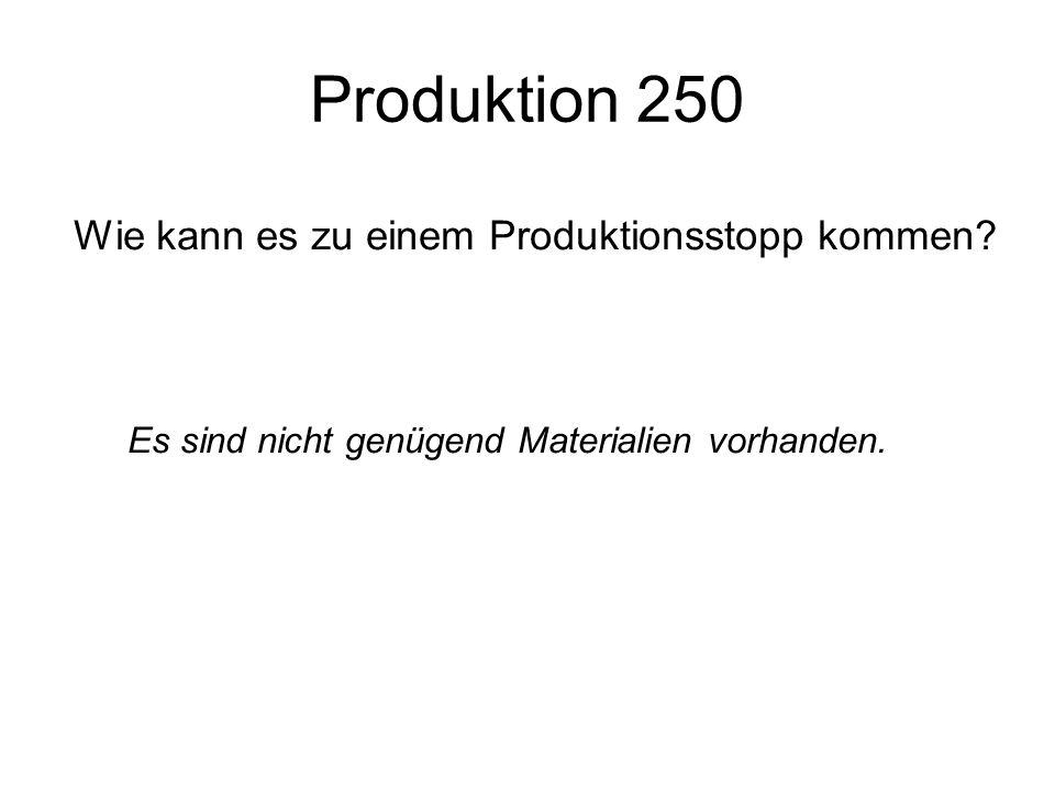 Produktion 250 Wie kann es zu einem Produktionsstopp kommen