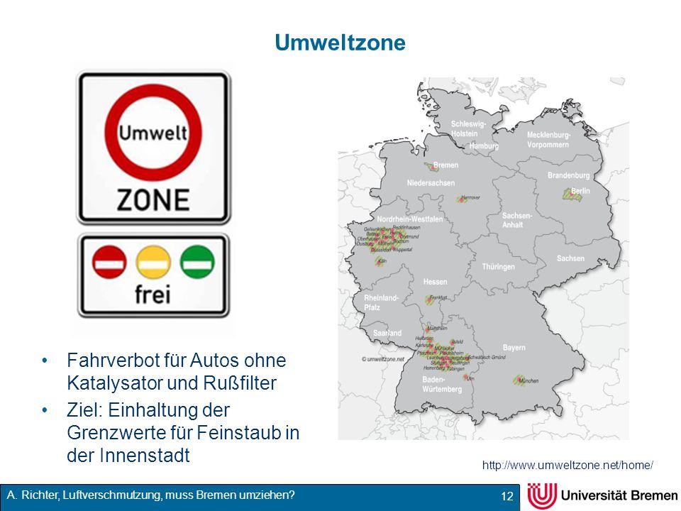 Umweltzone Fahrverbot für Autos ohne Katalysator und Rußfilter