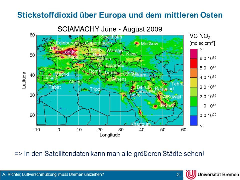 Stickstoffdioxid über Europa und dem mittleren Osten