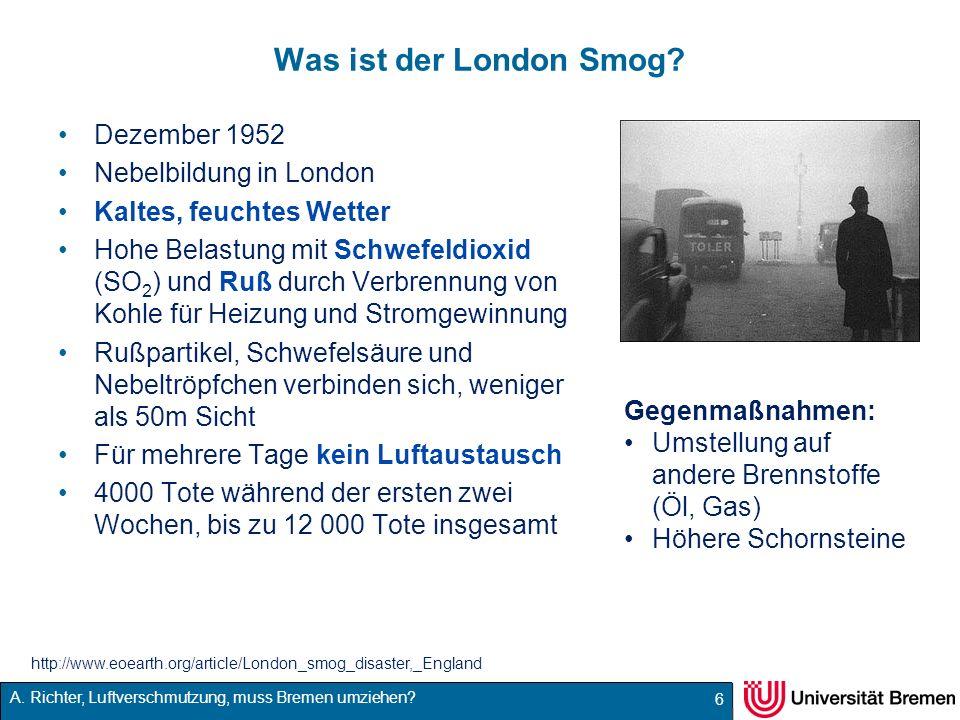 Was ist der London Smog Dezember 1952 Nebelbildung in London