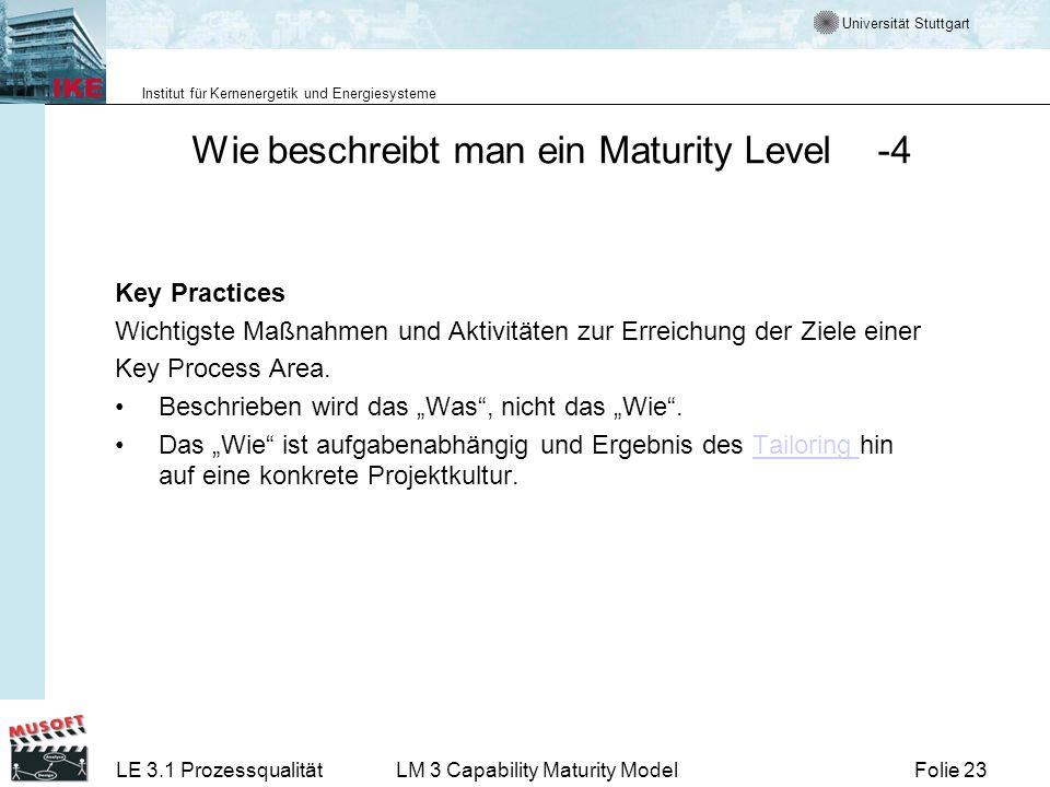Wie beschreibt man ein Maturity Level -4