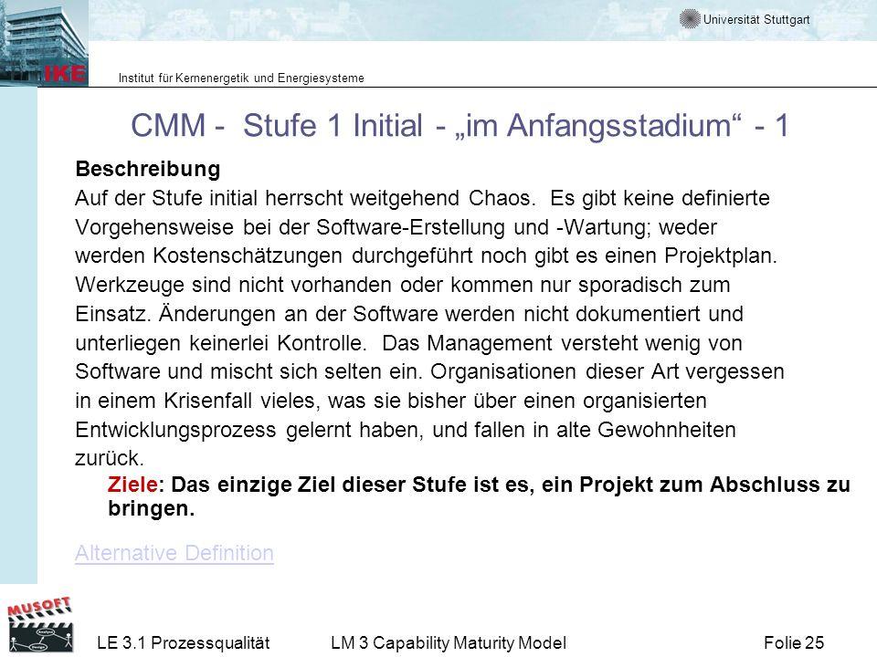 """CMM - Stufe 1 Initial - """"im Anfangsstadium - 1"""