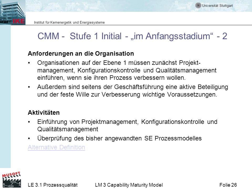 """CMM - Stufe 1 Initial - """"im Anfangsstadium - 2"""