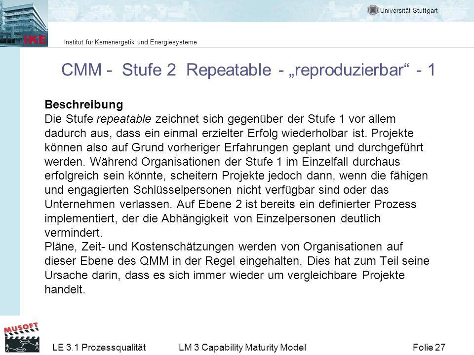 """CMM - Stufe 2 Repeatable - """"reproduzierbar - 1"""