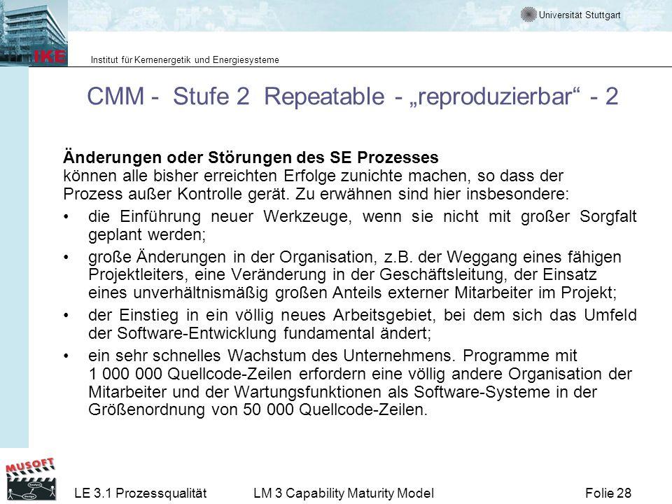"""CMM - Stufe 2 Repeatable - """"reproduzierbar - 2"""