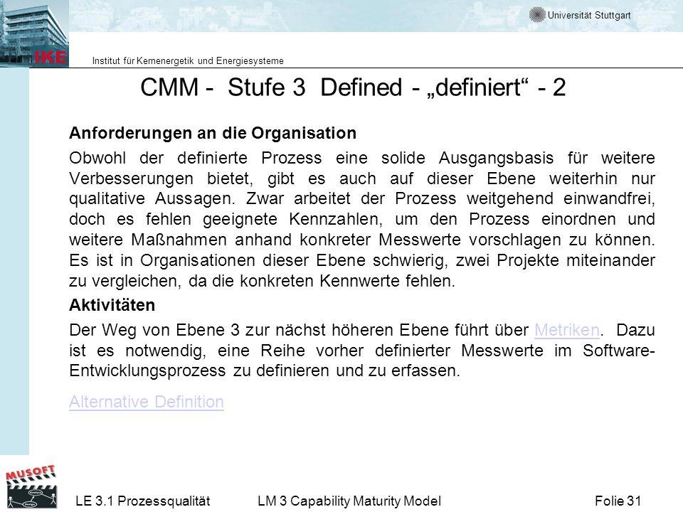"""CMM - Stufe 3 Defined - """"definiert - 2"""
