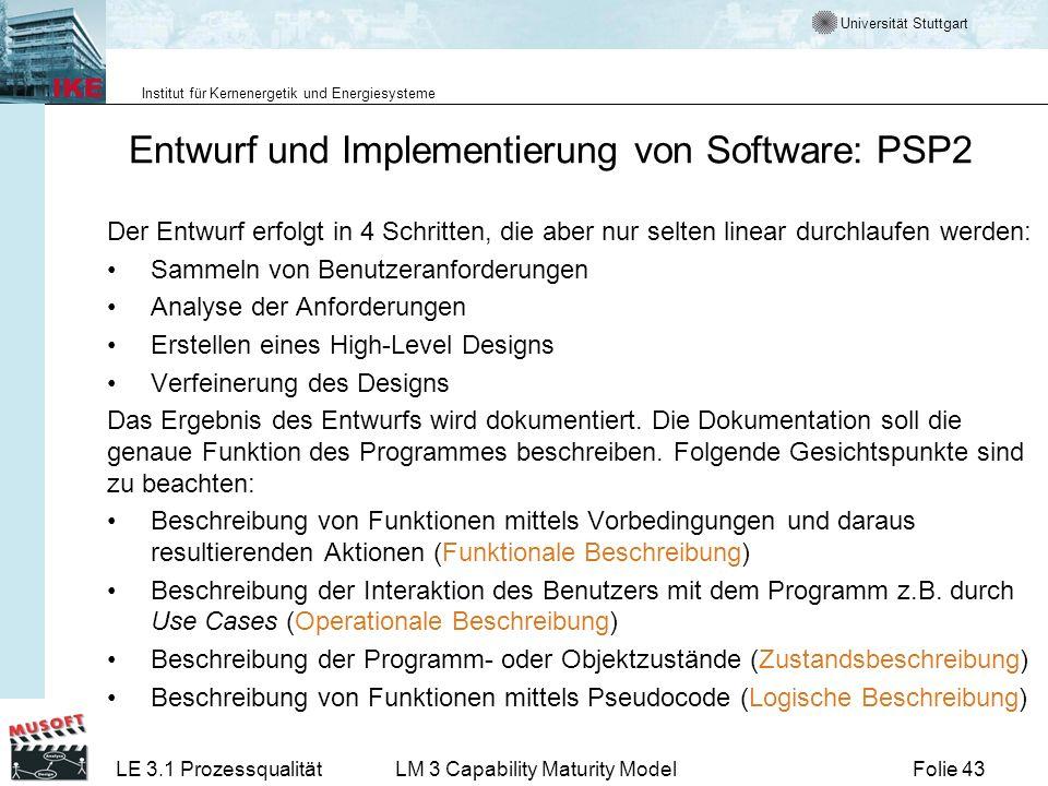 Entwurf und Implementierung von Software: PSP2