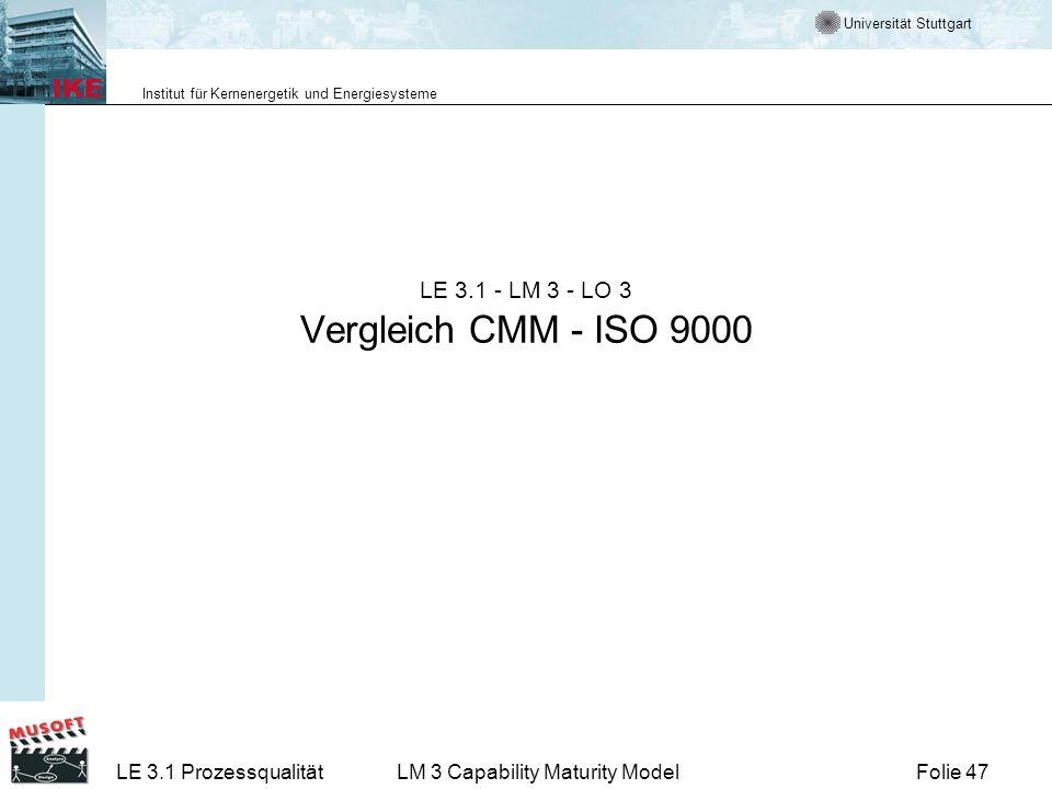 LE 3.1 - LM 3 - LO 3 Vergleich CMM - ISO 9000