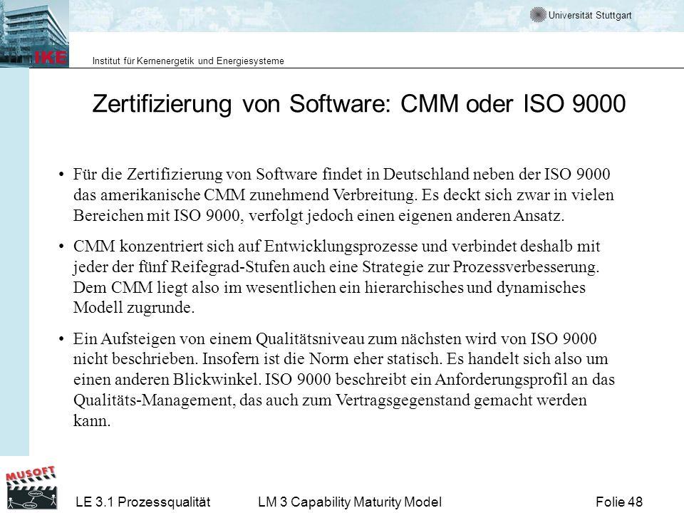 Zertifizierung von Software: CMM oder ISO 9000