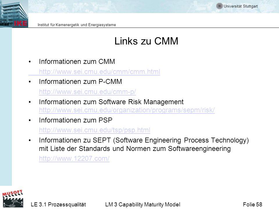 Links zu CMM Informationen zum CMM http://www.sei.cmu.edu/cmm/cmm.html