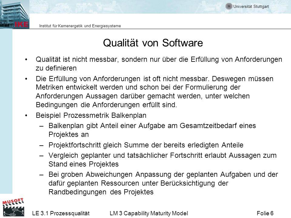 Qualität von SoftwareQualität ist nicht messbar, sondern nur über die Erfüllung von Anforderungen zu definieren.