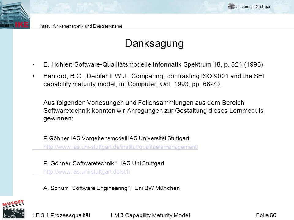 Danksagung P.Göhner IAS Vorgehensmodell IAS Universität Stuttgart