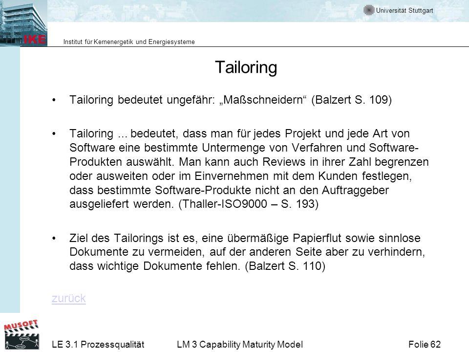 "TailoringTailoring bedeutet ungefähr: ""Maßschneidern (Balzert S. 109)"