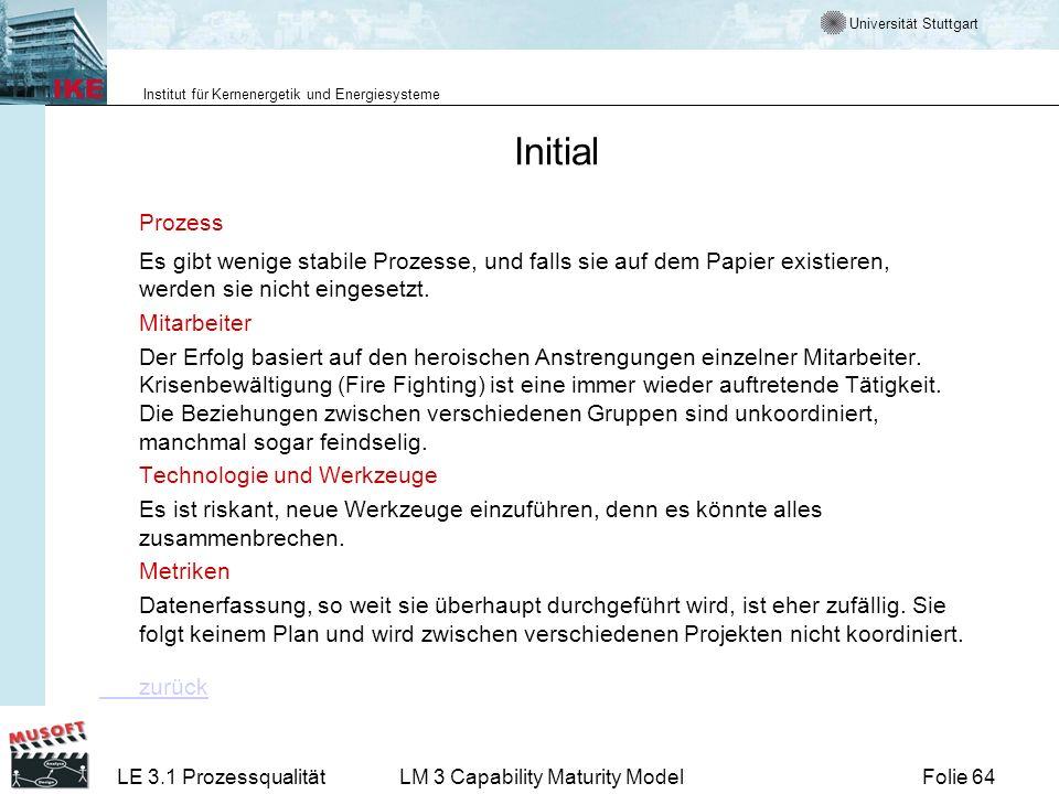 Initial Prozess. Es gibt wenige stabile Prozesse, und falls sie auf dem Papier existieren, werden sie nicht eingesetzt.