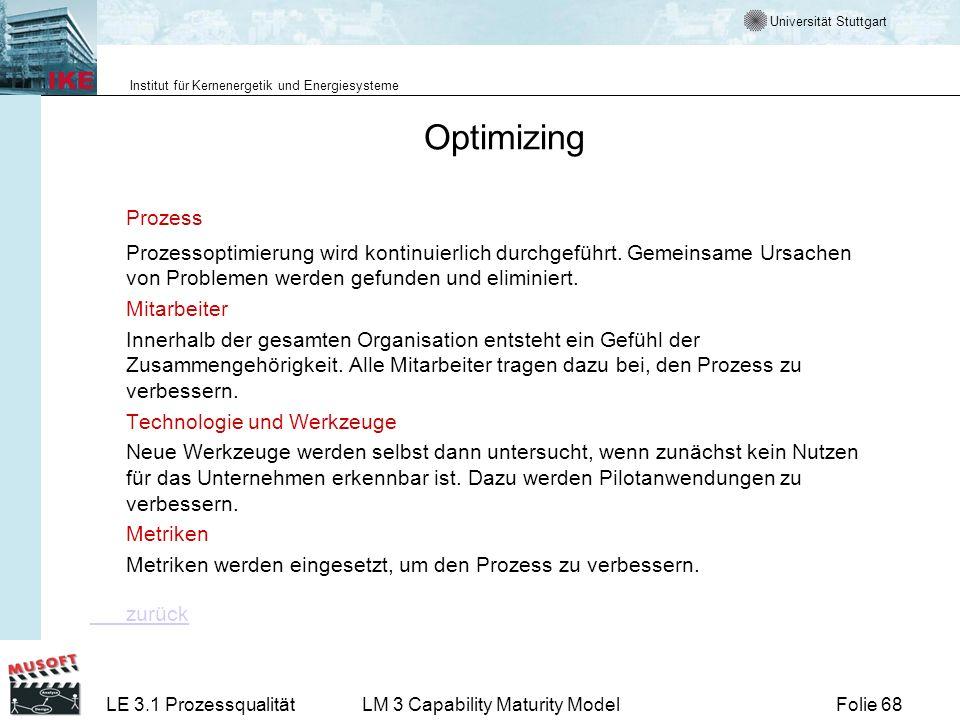 Optimizing Prozess. Prozessoptimierung wird kontinuierlich durchgeführt. Gemeinsame Ursachen von Problemen werden gefunden und eliminiert.