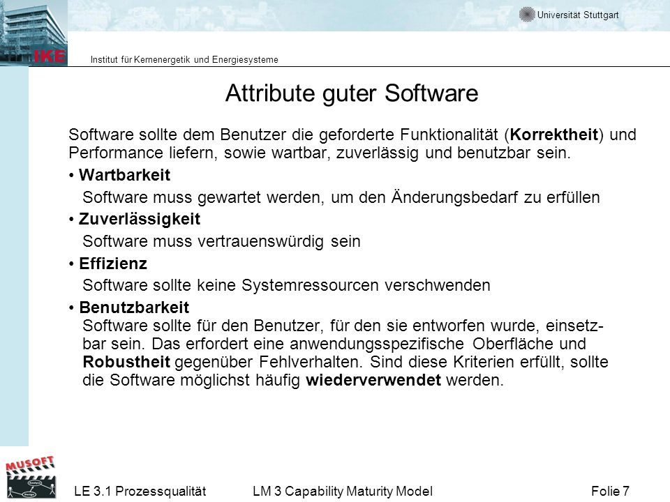 Attribute guter Software