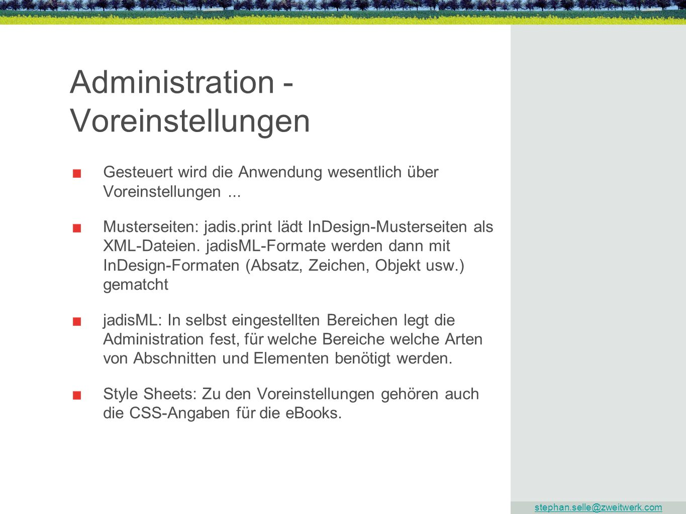 Administration - Voreinstellungen