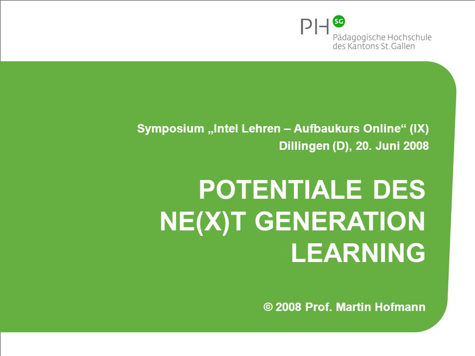 Potentiale des Ne(x)t Generation Learning