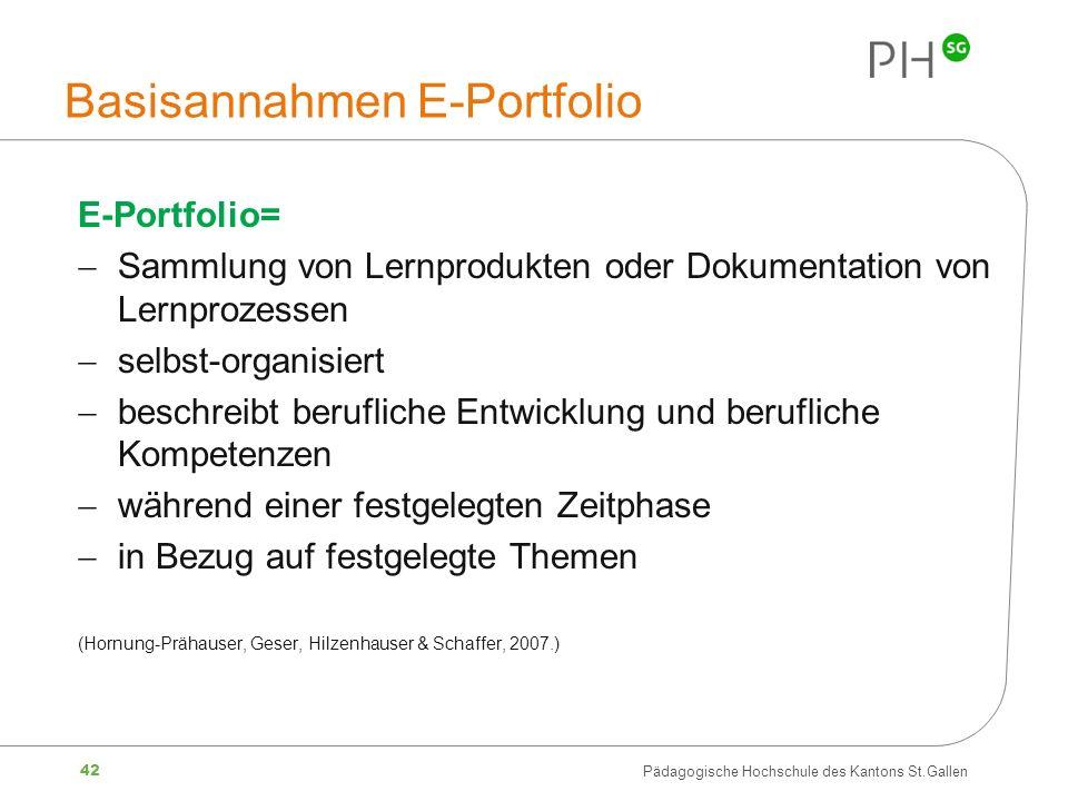 Basisannahmen E-Portfolio
