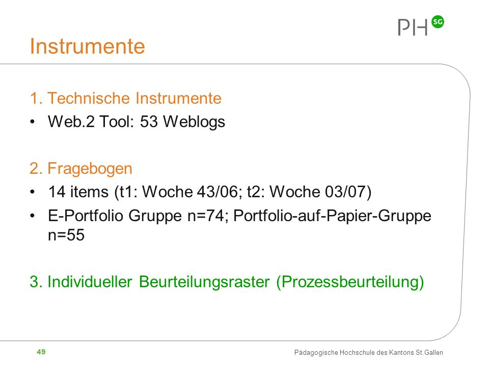 Instrumente 1. Technische Instrumente Web.2 Tool: 53 Weblogs
