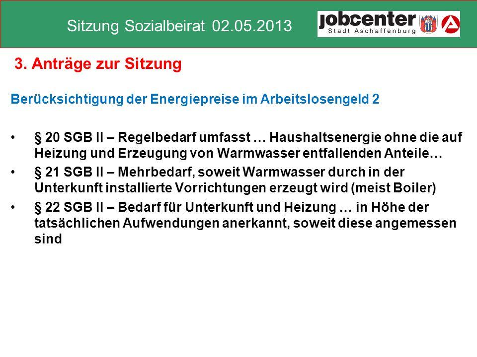 3. Anträge zur Sitzung Berücksichtigung der Energiepreise im Arbeitslosengeld 2.