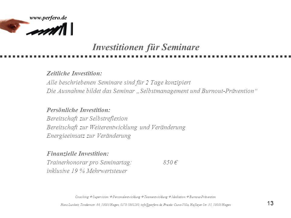 Investitionen für Seminare