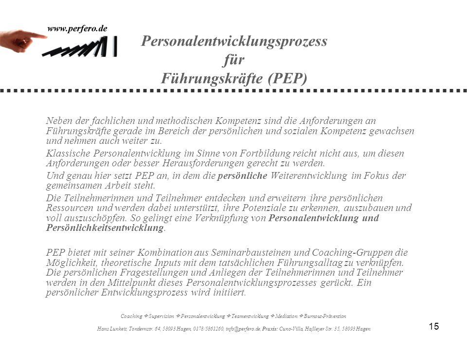 Personalentwicklungsprozess für Führungskräfte (PEP)