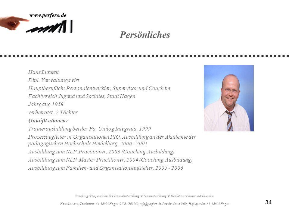 Persönliches Hans Lunkeit Dipl. Verwaltungswirt